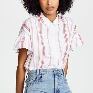 Madewell Central Stripe Ruffle Sleeve Shirt